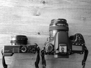 The Panasonic LX100 next to the Canon 70D (with a 50mm lens)