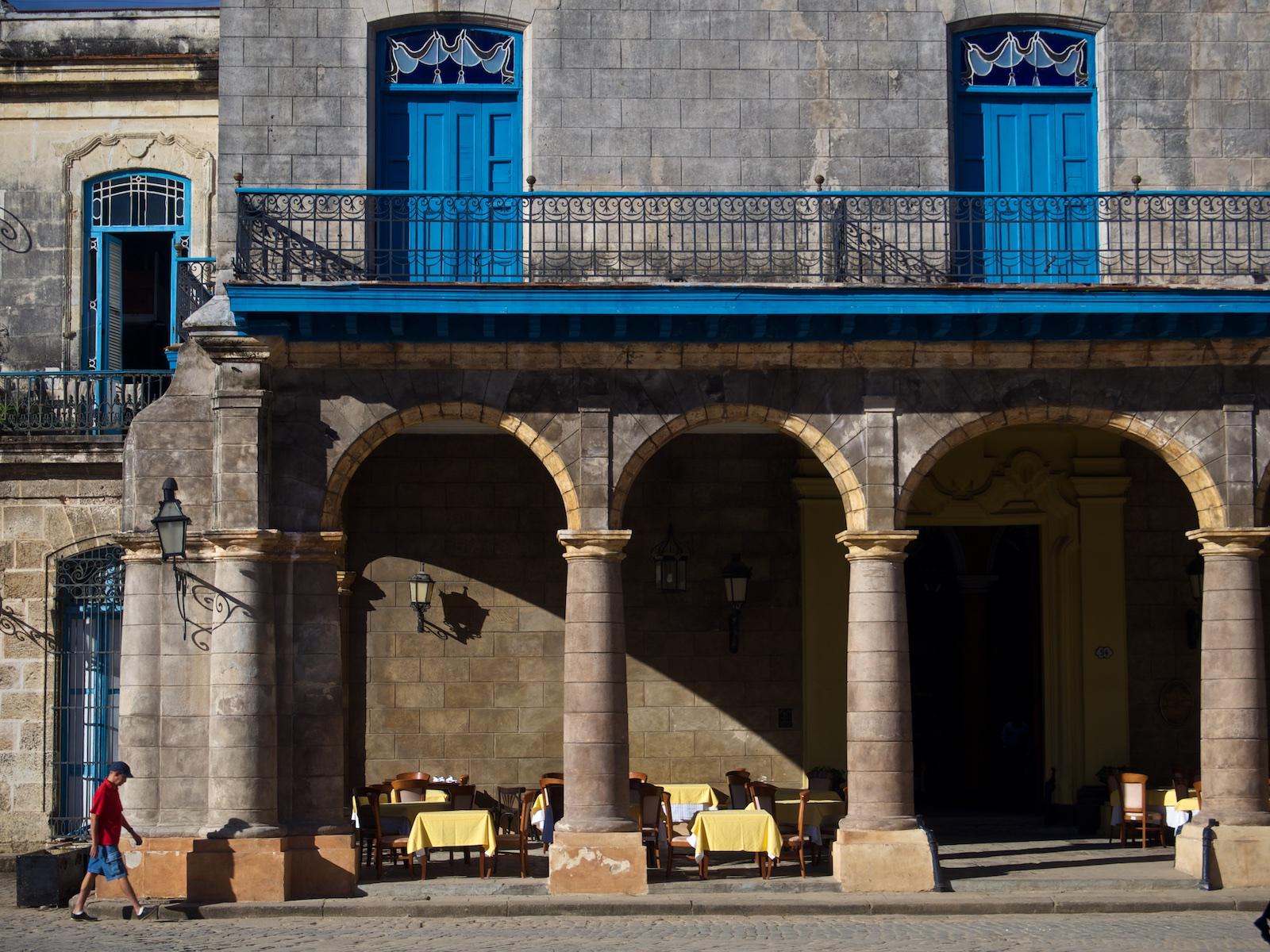 Restaurant on the Plaza in Morning Light, Havana Cuba. Photo by Derrick Story.