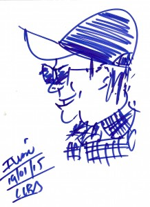 Tables turned! Street drawing of me by an artist who sketched with a Sharpie pen while following me through a plaza.