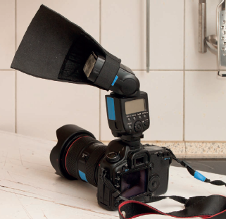 """The camera, TTL flash, and """"black foamie thing"""" (BFT)."""