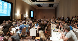 Photoshop World instructor Glyn Dewis teaches to a packed house.