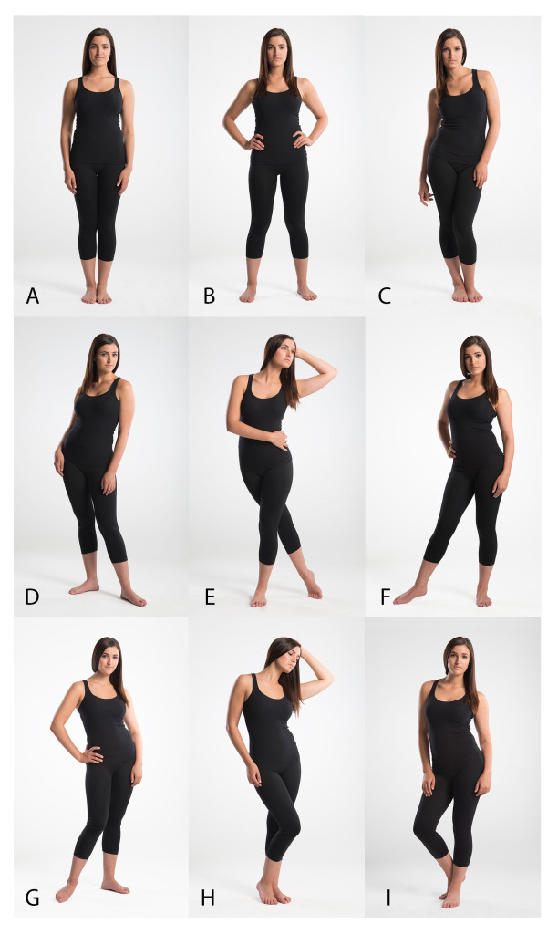 This chart shows nine poses that are common for female full-body posing.