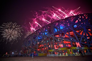 Fireworks at the Opening Ceremonies at the Bird's Nest stadium. Photo by Derrick Story.