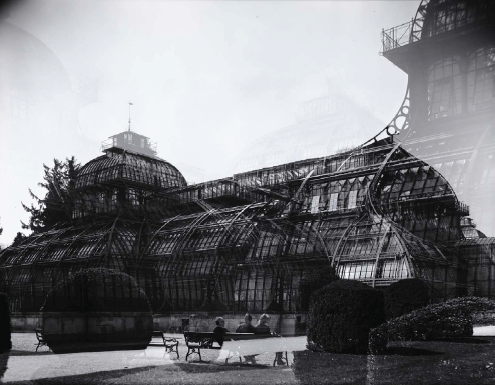 Accidental double exposure. Greenhouse in Schönbrunn Palace park, Vienna