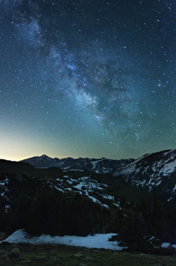 The Milky Way over Longs Peak from Trail Ridge Road, Rocky Mountain National Park, Colorado