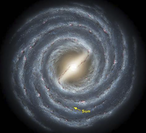 An artist's conception of the Milky Way Galaxy, viewed from above. Image courtesy of NASA.