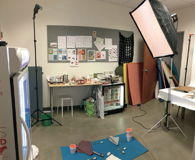 This setup was for a Jeni's Ice Cream product shoot. I was providing them with both a hard light (light on the left) and a soft light (light on the right) option for each image.